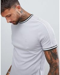 River Island T-shirt With Piping Detail In Gray for men
