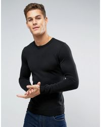 ASOS | Muscle Fit Cotton Crew Neck Jumper In Black for Men | Lyst