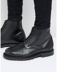 H by Hudson Black Exclusive To Asos Leather Laceup Boots for men