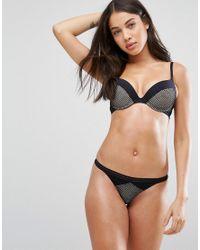 New Look Black Geo Mesh And Contrast Cuff Push Up Bra