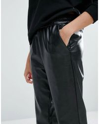 Monki Black Leather Look Relaxed Trouser