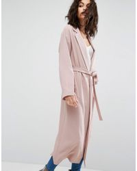 ASOS | Pink Belted Duster Coat With Split Sleeve | Lyst