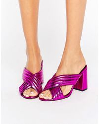 New Look - Pink Metallic Cross Strap Heeled Mule - Lyst