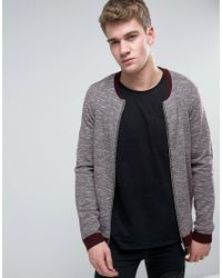 ASOS | Red Knitted Bomber Jacket With Contrast Trims In Burgundy for Men | Lyst