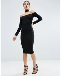 ASOS Black Long Sleeve Off The Shoulder Bardot Midi Bodycon Dress With Lace Choker Collar