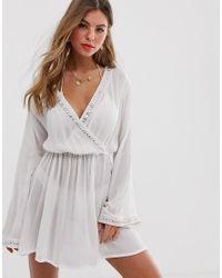 Пляжное Платье Из Жатой Ткани С Запахом И Элементами С Зеркальным Эффектом -белый South Beach, цвет: Multicolor