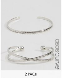 ASOS - Metallic Pack Of 2 Criss Cross Cuff Bracelet And Open Bangle - Lyst