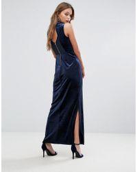Vero Moda Blue Velvet Lace Back Maxi Dress