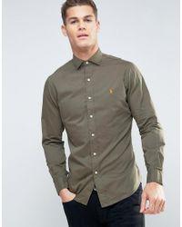 Polo Ralph Lauren | Green Shirt Slim Fit Cutaway Collar Twill for Men | Lyst