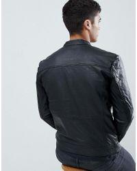 SELECTED Black Leather Biker Jacket for men