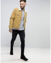 ASOS Natural Cord Western Jacket With Borg Collar In Camel for men