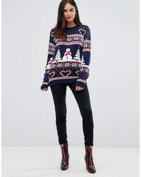 Club L Blue Fairisle Scenic Snowman Christmas Jumper