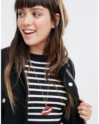 Monki | Lip Necklace - Red | Lyst