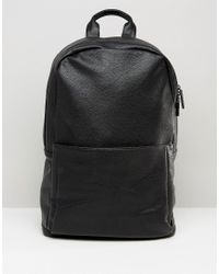 ASOS | Backpack In Black Faux Leather for Men | Lyst