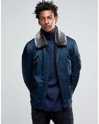 Hilfiger Denim Blue Justice Nylon Bomber With Detatchable Faux Fur Collar for men