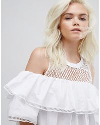 New Look White Cold Shoulder Mesh Dress