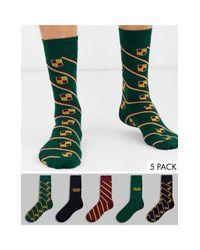 Confezione da 5 paia di calzini a righe con stemma di Burton in Multicolor da Uomo