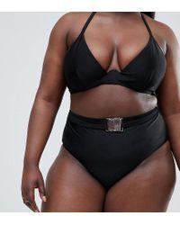 Wolf & Whistle - Curve High Waist Bikini Bottom With Belt In Black - Lyst