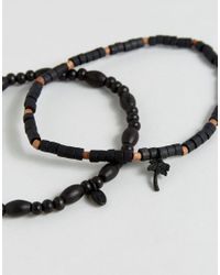 Classics 77 - Black Beaded Anklets In 2 Pack - Lyst