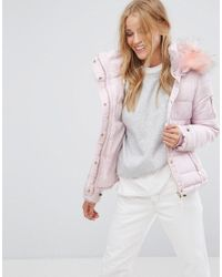 4aa41564548b Pimkie Padded Coat With Faux Fur Hood in Pink - Lyst