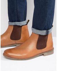 Lambretta Brown Chelsea Boots In Camel for men