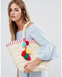 South Beach Natural Straw Beach Bag With Pom Pom Detail