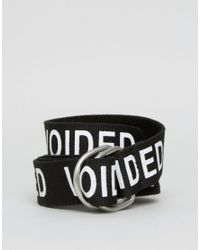 ASOS Black Voided Slogan Webbing Belt