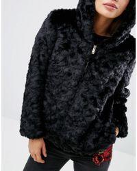 New Look Black Faux Fur Hooded Bomber Jacket