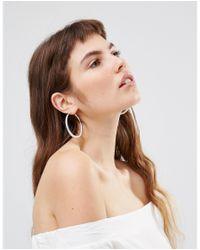 Oasis - Metallic Textured Hoop Earrings - Lyst