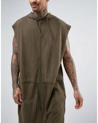 ASOS Green Oversized Sleeveless Hooded Onesie With Drawcord Waist In Khaki for men