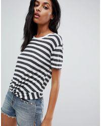 Camiseta de rayas con nudo delantero de AllSaints de color Multicolor