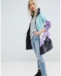ASOS | Blue Longline Rain Mac In Colourblock | Lyst