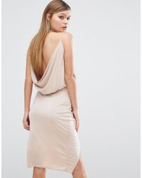 c7de76cffb Lyst - Club L Slinky Wrap Front Dress With Cowl Back in Natural