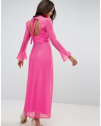 ASOS | Pink High Neck Pleated Maxi Dress With Open Back | Lyst