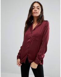 New Look Red Satin Pyjama Dressing Shirt