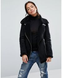 New Look Black Faux Borg Lined Aviator Jacket
