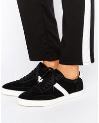 ASOS - Black Delphine Stripe Lace Up Sneakers - Lyst