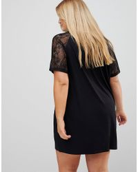 ASOS Black T-shirt Dress With Lace Raglan Sleeve