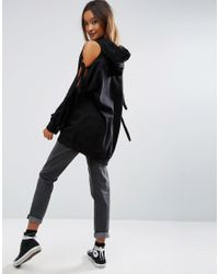 ASOS Black Hoodie With Knot Detail Cold Shoulder And Oversized Trims