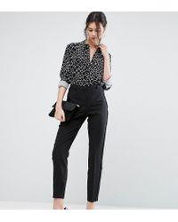ASOS   Black Tux Cigarette Trousers With Sheer Fringe Detail   Lyst