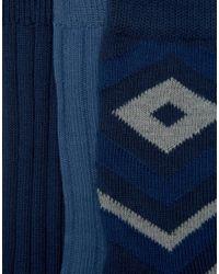 ASOS - Blue Boot Socks With Geo Design 3 Pack for Men - Lyst