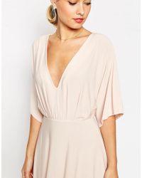 ASOS - Pink Kimono Plunge Midi Dress - Lyst