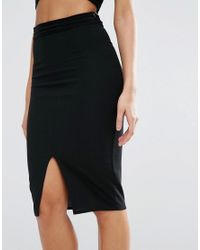 Missguided Black Exclusive Mesh Ribbed Midi Skirt