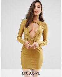 Missguided | Green Twist Front Bodycon Mini Dress | Lyst