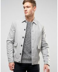 New Look Gray Harrington Jacket In Stone With Revere Collar for men