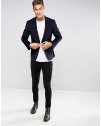 New Look Blue Slim Cord Blazer In Navy for men