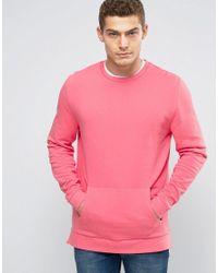 ASOS Sweatshirt With Side Zips In Pink for men