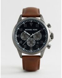 Michael Kors Mk8536 Gage Chronograph Leather Watch In Brown for men