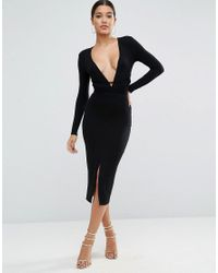 ASOS Black Deep Plunge Wrap Ties Midi Dress