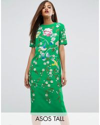 ASOS   Green Bird & Floral Embroidered Shift Dress   Lyst